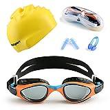 Mee'sport Set di occhiali da nuoto per bambini Con Protezione Anti UV Anti Nebbia occhiali da nuoto Cuffia da nuoto e Tappi per Naso e Orecchie Attrezzatura da allenamento per Ragazzi Ragazze