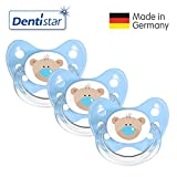 Dentistar Silikon Schnuller 3er Set - Beruhigungssauger, Nuckel Größe 1 von Geburt an, 0-6 Monate - zahnfreundlich & kiefergerecht | Blau Bär