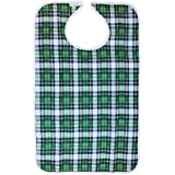 Bavoir Adulte Etanche Ajustable Tablier en PVC Détachable Protège-vêtement au Repas Motif Divers-46x74/65CM - Vert grille , 46 x 74cm