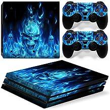 Mcbazel Calcomanías de la serie de patrón Adhesivo de piel de vinilo para PS4 Pro (Blue Skull)