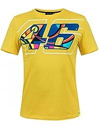 Valentino Rossi VR46 Moto GP Helmet Print Amarillo Camiseta Oficial 2018