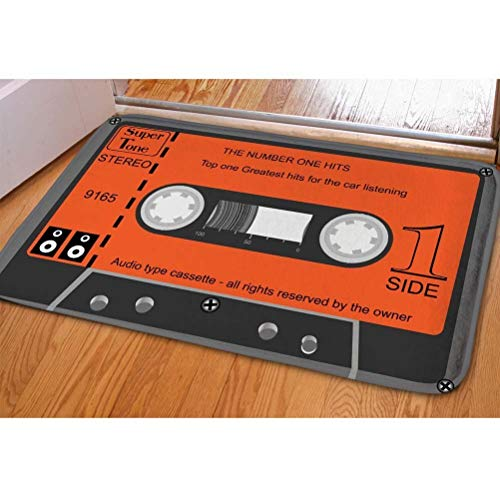 PZLETVslzb Indoor Door Mats, Custom Cassette Front Floor Mats Doormats Outdoor Bedroom Kitchen Orange