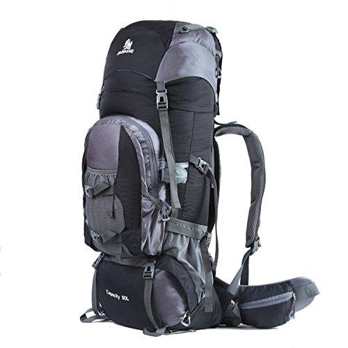 HWJIANFENG Trekkingrucksack Wanderrucksack Reiserucksack - XXL Kapazität 80L - Ultraleicht, strapzierfähig - Perfekt für Camping/Wandern/Bergsteigen/Reisen, Schwarz