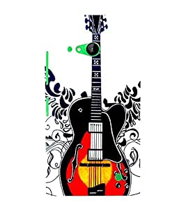 For Nokia Lumia 730 Dual SIM :: Nokia Lumia 730 Dual SIM RM-1040 guitar, black red guitar, white background Designer Printed High Quality Smooth Matte Protective Mobile Case Back Pouch Cover by APEX