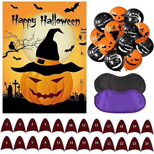 (Tuparka Pin The Nose auf den Kürbis Halloween Party Spiele mit 24 Nasen und 20 Stück Halloween Ballons für Halloween Party Favors, Halloween Dekorationen)