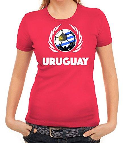 ShirtStreet Wappen Soccer Fussball WM Fanfest Gruppen Fan Wappen Damen T-Shirt Fußball Uruguay Pink