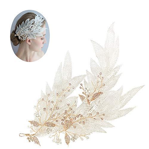 roroz Hochzeit Braut Haarspange, Kristall Stirnband handgefertigt, Headwear Zubehör Vintage Temperament Hochzeitskleid Foto Schmuck Original, White