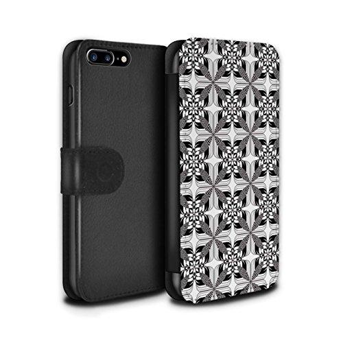 Stuff4 Coque/Etui/Housse Cuir PU Case/Cover pour Apple iPhone 7 Plus / Tourbillon/Cour Design / Mode Noir Collection Tuiles Symétrie