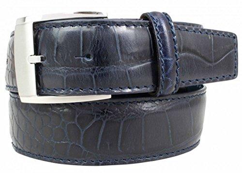 Gürtel mit Krokoprägung 3,5 cm Kroko-Prägung Hochwertig 35mm Krokodil-Muster Reptil-Prägung Ledergürtel Gurt Jeans Chino Hosen, Bundweite 85, Marine (Krokodil Gürtel)