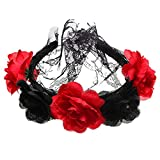 shopk2 Ladies Red and Black Roses Headband with Black Lace Veil for Day of The Dead Accessory Cosplay Halloween Costume, Floral Crown Veil Headpiece for Halloween Party (Black+Red)