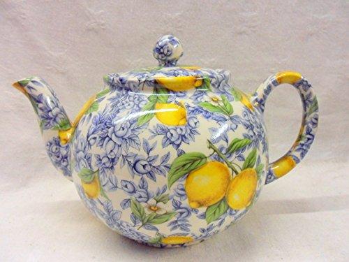 Blaue 6-Tassen-Teekanne im Zitronen-Design, von Heron Cross Pottery.