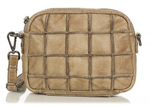 FREDsBRUDER sac bandoulière petits crânes carrés cuir ciré doux FS16 (21x16x5cm) beige