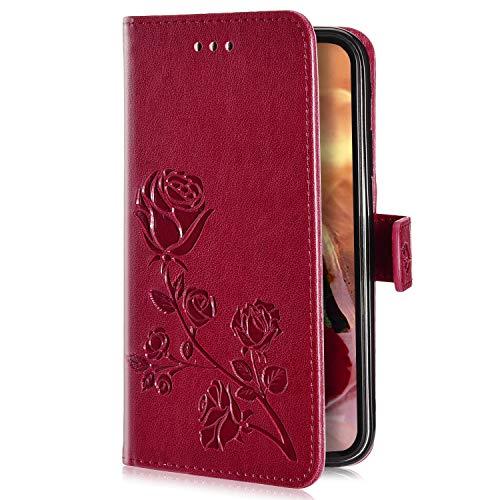 Uposao Kompatibel mit Samsung Galaxy J4 2018 Handyhülle Handytasche Rose Blumen Muster Schutzhülle Flip Case Brieftasche Klapphülle Wallet Leder Hülle Cover Tasche Ständer Ledertasche,Rot