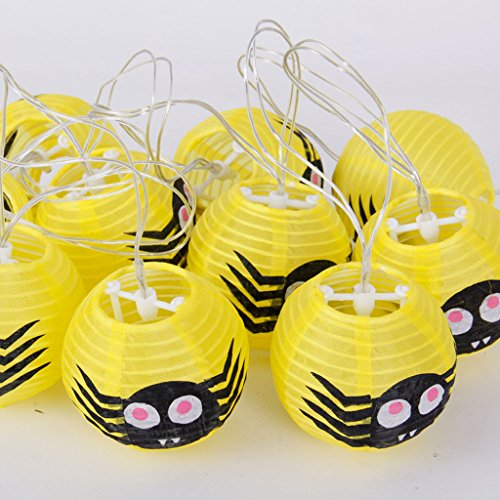 Halloween Papier Laternen Party Dekorieren Requisiten Spinne Kürbis String Lights KTV Bar LED Holiday Supplies ( Color : Yellow Spider )