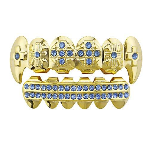FESSLAND Teeth Grills, Unisex Gold Hip Hop Teeth Grills Vergoldete Teeth Grills Set für Holleween Gift Teeth Grill (Farbe : Blau)