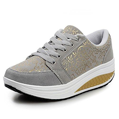 QZBAOSHU Sneaker Moda della Scarpa Tennis per Ragazze Donne Fitness Corsa Scarpe Sportive Zeppe (EUR38 (adatto per EU37), Grigio)