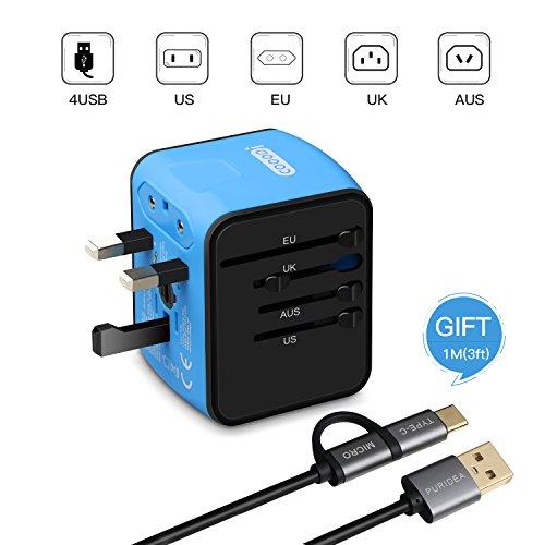 Adaptador Enchufe,COOODI  Viaje Universal Enchufe Adaptador Internacional con 4 Puertos USB para US EU UK AU acerca de 150 Países y Seguridad de Fusibles para Tableta PC, Smartphones Cámaras