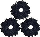 Ababalaya Damen 3 Stück 23×23cm Groß Haar Gummiband Samt Haargummis Elastisch Haarbänder für Muslimisches Kopftuch,Schwarz 3pcs
