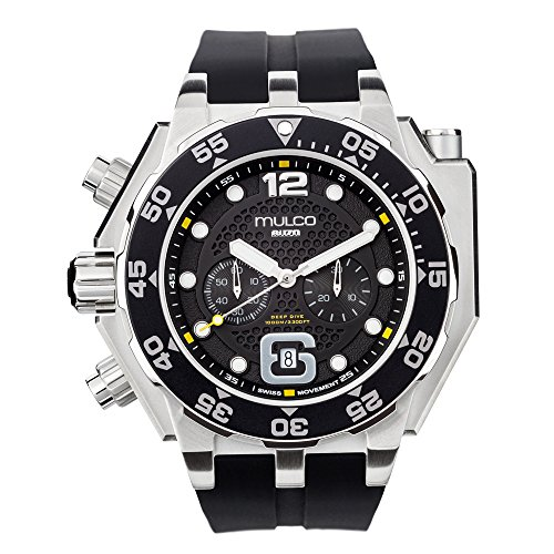 Mulco Diver MB6-92826-021 Buzo Helio Stainless Steel Black Silicone Band