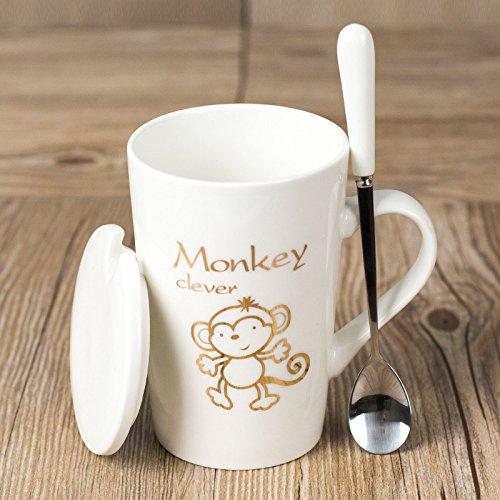 Mugs Tasses Tasse De Tasse À Café en Céramique Zodiac Personal Personal Coffee Tasse À Thé avec Une Cuillère Blanche, Singe