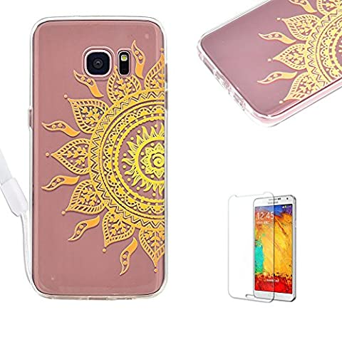 For Samsung Galaxy S6 Edge Cover [with Free Screen Protector],Funyye Transparent [Fashion Painted Pattern] Design Crystal Soft TPU + Hard Acrylic Silicone Protective Bumper for Samsung Galaxy S6 Edge -
