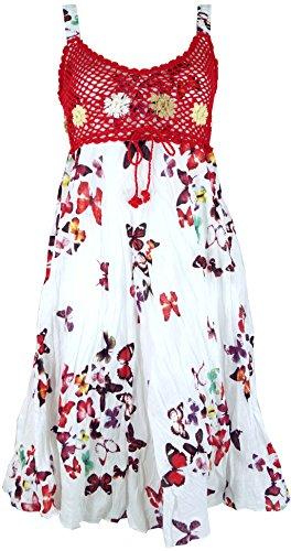 Guru-Shop Boho Minikleid, Sommerkleid Schmetterling, Krinkelkleid, Damen, Weiß/rot, Baumwolle, Size:38, Kurze Kleider Alternative Bekleidung