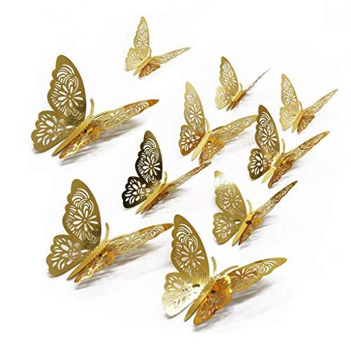 ng Wandaufkleber 48 Stück Schmetterlinge Wandaufkleber Home Decor DIY Schmetterlinge Kühlschrank Aufkleber Raumdekoration Party Hochzeit Dekor (Gold) ()