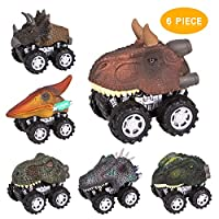 TWFRIC Dinosaur Toys Car, Pull Back Dinosaur Toy Car 6-Pack Vehicle Dinosaur Truck Cars Educational Toy for Kids Boys Girls