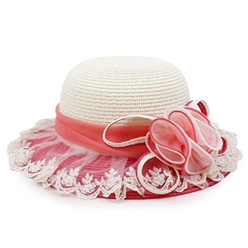 Koreanische Kinder Blumen großen Strohhut/ Baby-Mädchen Frühling und Sommer Hut/ Sonnenschutz großer Krempe Strand Hut/Liang Mao-D One Size