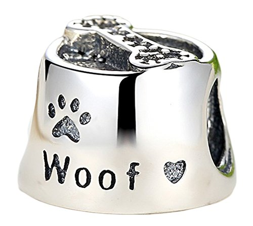 SaySure - 925 Sterling Silver Woof Charm With Clear CZ