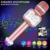 Bluetooth Karaoke Mikrofon mit Disco-Lichtern, Drahtlos Karaoke Mikrofon Batterie Mikrofon Kabellos Anlage für die Aufnahme von Gesang und Sprache als Lautsprecher für PC, Laptop, iPhone, iPod, iPad, Android Smartphones und als Party Karaoke Mikrofon (Rosegold)