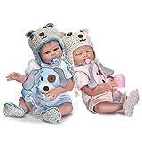 HOOMAI ein Paar Zwillinge Babys Reborn Puppe Voll Silikon 50 cm 20 Zoll Mädchen und Junge...