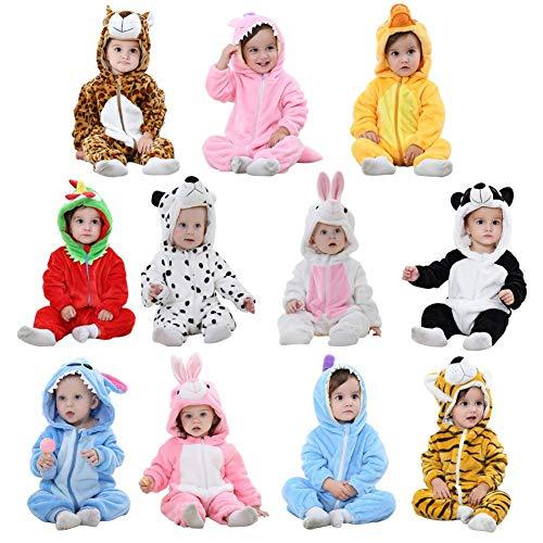 Baby Kapuzen Strampler Herbst Winter Flanell Jumpsuits Mädchen Jungen Cartoon Tier Jumpsuit Schlafanzug Kinder Kleinkind Cosplay Kostüm Vier Jahreszeiten Universal Form, merhfarbig, White Rabbit 80cm