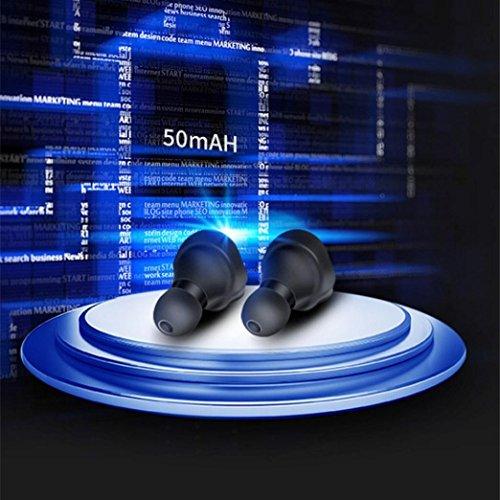 myqyiyi Mini Manschettenknöpfe drahtlose Bluetooth Sport-Kopfhörer im Ohr Stereo, Schwarz