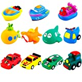 Keriber 11 Pack Floating Bath Toys Rubber Floating Boat Vehicle Aircraft Bath Squirt Toys for Baby or Kids