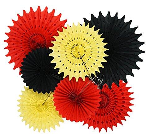 upplies 1. Geburtstag 7pcs gelb rot schwarz Seidenpapier Fans für Mickey Mouse 1. Geburtstag Dekorationen/Mickey Mouse Party Dekorationen ()