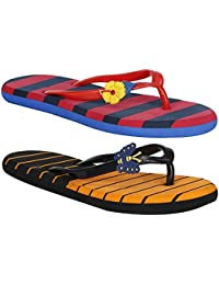 VAGON Misto Women and Girls Daily Wear Multi Color 2 Pair Combo Flip Flops