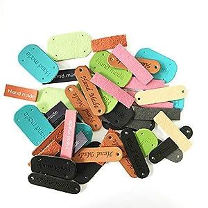 51ImLF4U3zL. SS300  - Juland 45 Etiquetas de Piel sintética Hechas a Mano para Ropa, Etiqueta Hecha a Mano en Relieve con Agujeros para…