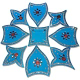 Handmade Designer Royal Blue Rangoli - With Tulip Shaped Petals And Modak Shaped Design Decorated With Silver Stones And Red Beads On Aqua Blue Elongated Square Shaped Plastic Base - 9 Pieces Set - Packed In Plastic Box