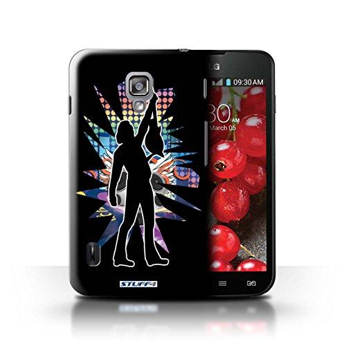 Kobalt® Imprimé Etui / Coque pour LG Optimus L7 II Dual / Elvis Noir conception / Série Rock Star Pose Atteindre Noir