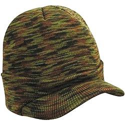 Sombrero Caliente Con Pico De Un Tamaño Unisex Para Hombre Del Invierno Hizo Punto - color del camuflaje, sombrero 44-60cm