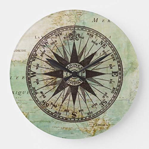 Antike Nautische Möbel (HSSS Wanduhr, Antik-nautischer Kompass & Karte, dekorativ, rund, Holz, 30,5 cm)