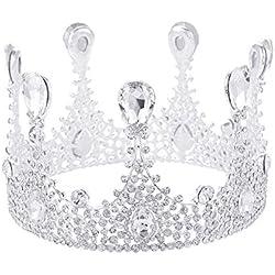 Demarkt Forma Redonda Corona Boda Mujer Reina Corona Novia Banda para el Cabello Adornos de Pelo Accesorios De Boda Novia de Diadema Corona Brillante Diadema de Diamantes de Imitación