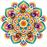 NISH! Rangoli Sticker #001 (Vinyl, Medium - 18in X 18in, 100 Pieces) | Rangoli Stickers Floor | Rangoli Floor Stickers | Rangoli Stickers For Wall | Rangoli Stickers For Doors | Diwali Rangoli Stickers
