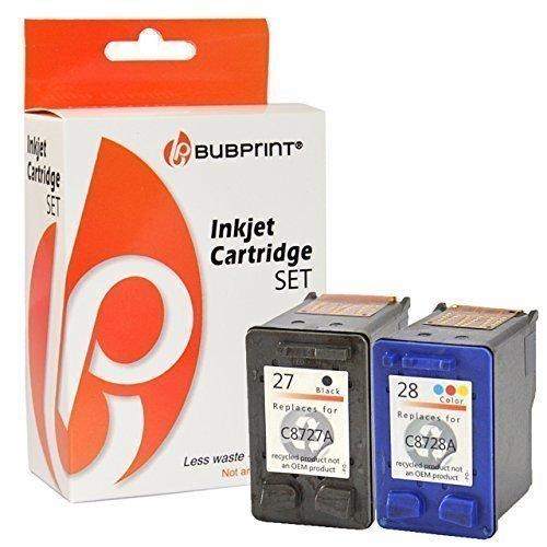 Bubprint 2 Druckerpatronen kompatibel für HP 27 28 HP27 HP28 für Deskjet 3320 3325 3420 3520V 3550 3650 Officejet 4215 Pro 3610 PSC 1210 1310 1315 Set (Hp Schwarz 28 Drucker Tinte)