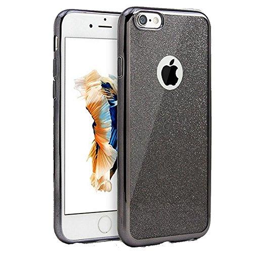 Sycode Custodia Cover per iPhone 8 Plus 5.5,Custodia Bumper per iPhone 7 Plus 5.5,Ultra Slim Resistenti Anti-scratch Soft TPU Silicone Gomma Gel Intarsiato Glitter Brillantini Bling Confine di Placc Nero