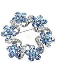 Glamorousky Elegante Blumenbrosche Mit Blauen Austrian Elements Kristall (324)