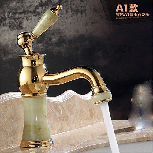 Hlluya Wasserhahn für Waschbecken Küche Antike einzigen Griff einzelne Bohrung Wasserhahn warmes und kaltes antikem Marmor Tisch Becken Rose Gold und Jade A1 -