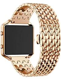 Scpink Muñequera de Acero Inoxidable, muñequera de Repuesto para Correa de Pulsera de Reloj Inteligente Fitbit Blaze (Oro Rosa)