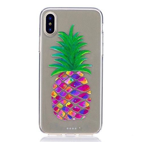 iPhone X Hülle, Voguecase Silikon Schutzhülle / Case / Cover / Hülle / TPU Gel Skin für Apple iPhone X(Campanula Blumen) + Gratis Universal Eingabestift Malerei Ananas